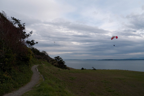 Paraglider over Fort Ebey near dusk.  Photo by Alex.