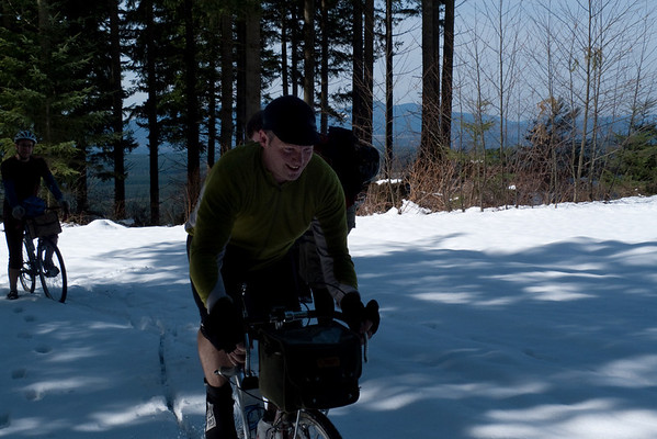Rory and the rest of us make one last attempt at riding through deep snow.
