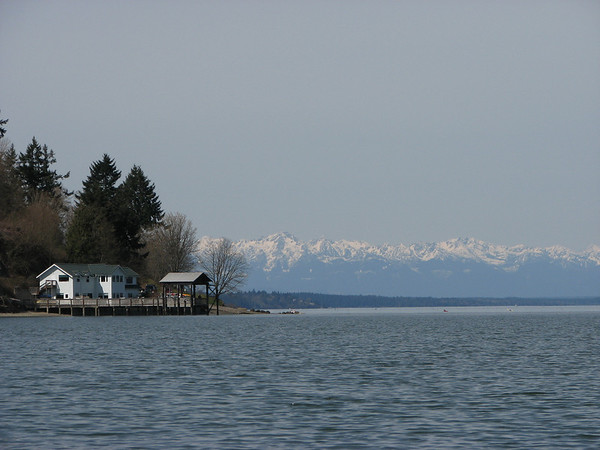 Great views of the Olympics.  The boat ramp that we launched from is in the front.