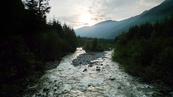 Views from the Lennox Creek bridge, just before it merges with the Snoqualmie River