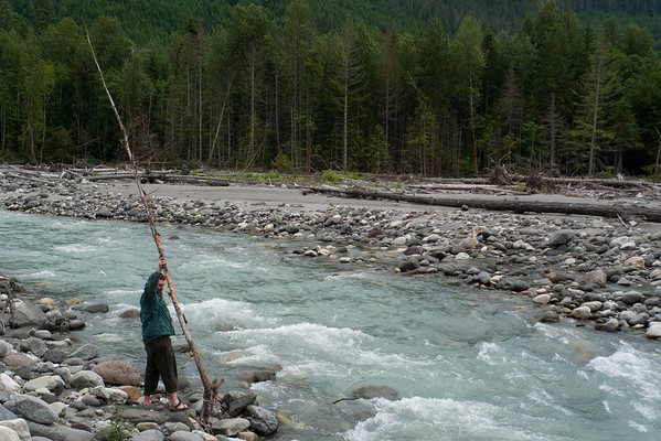 "Lee ""invents"" water logging.  He throws driftwood into the river and..."